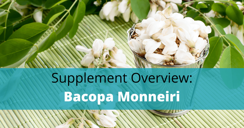 Bacopa plant with bacopa monnieri text overlay