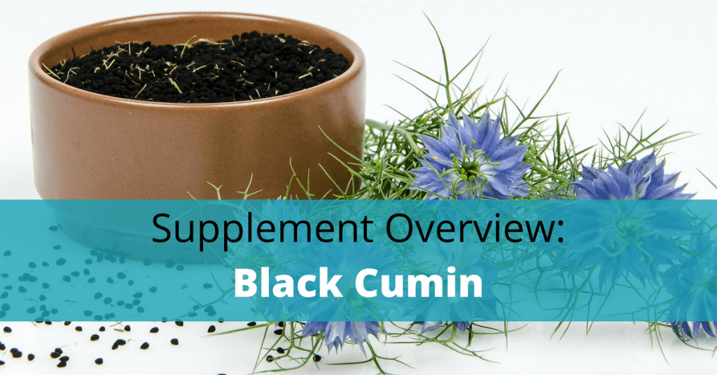 black cumin seed plant with text overlay