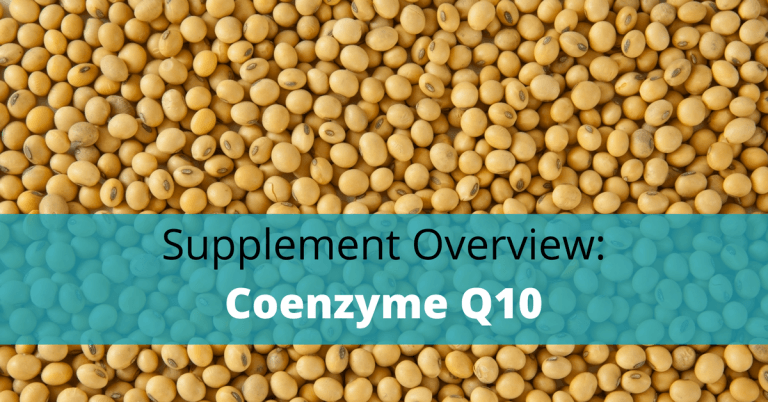 Soy beans with coenzyme Q10 coq10 text overlay