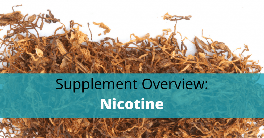 dried tobacco with nicotine text overlay